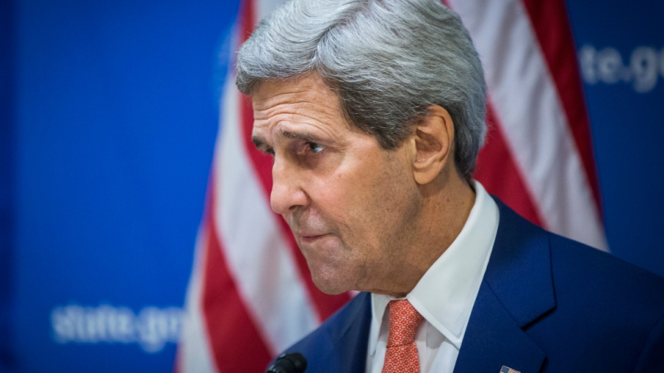 U.S. Secretary of State John Kerry announces a 72-hour humanitarian cease-fire beginning Friday between Israel and Hamas, in New Delhi, India, Friday Aug. 1, 2014. (AP / Lucas Jackson)