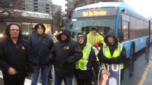 York Region Transit picketers block buses at Finch terminal on Thursday, Jan. 12, 2011.