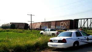 One person has been injured in a collision between a Via Rail passenger train and a CN freight train near Gananoque, Ont. (OPP / Twitter)