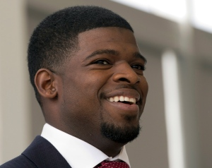 Montreal Canadiens defenceman P.K.Subban speaks to reporters at a news conference to promote youth hockey Thursday, July 31, 2014 in Brossard, Que. THE CANADIAN PRESS/Ryan Remiorz
