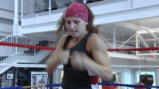 Kitchener boxer Mandy Bujold practices in this undated image taken from video.