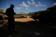 Israeli soldier just outside of Gaza