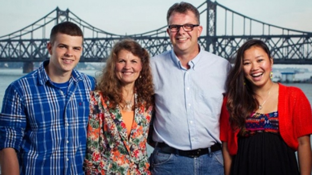 Julia Dawn and Kevin Garratt, centre, are seen with their son Peter and daughter Hannah Garratt in this undated photo provided to CTV News by Simeon Garratt.