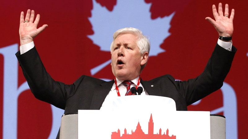Interim Liberal leader Bob Rae delivers the opening address at the party's convention in Ottawa, Friday Jan. 13, 2012. (Adrian Wyld / THE CANADIAN PRESS)
