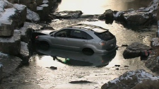 An SUV crashed into a Scarborough creek after it failed to stop following a car wash on Saturday, Jan. 14 2012.