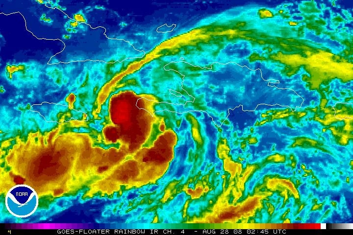Tropical storm Gustav moves away from Haiti, churning across the ocean, as seen in this NOAA satellite image taken Wednesday evening, Aug. 27, 2008.