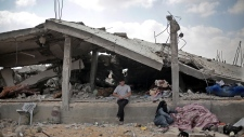 A destroyed home in the southern Gaza Strip