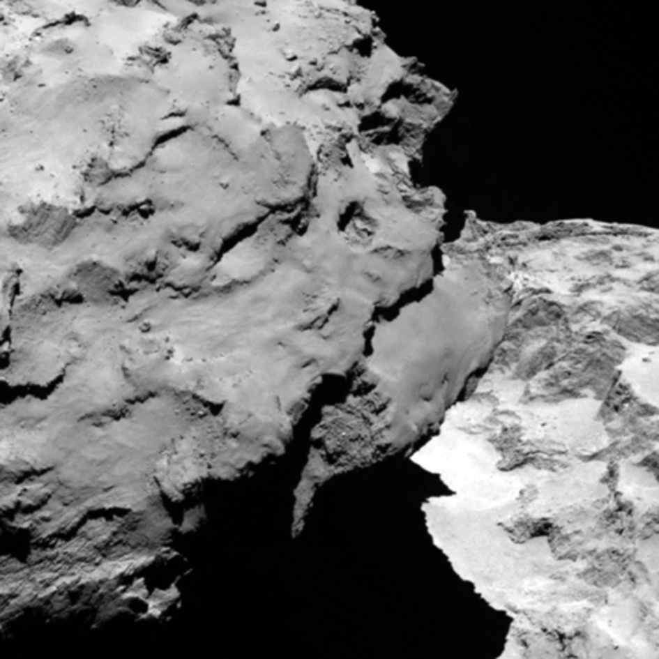 Close-up detail of comet 67P/Churyumov-Gerasimenko is shown in this image taken by Rosetta's OSIRIS narrow-angle camera. The image shows the comet's 'head' at the left of the frame, which is casting shadow onto the 'neck' and 'body' to the right. (Provided/ESA/Rosetta/MPS for OSIRIS Team )