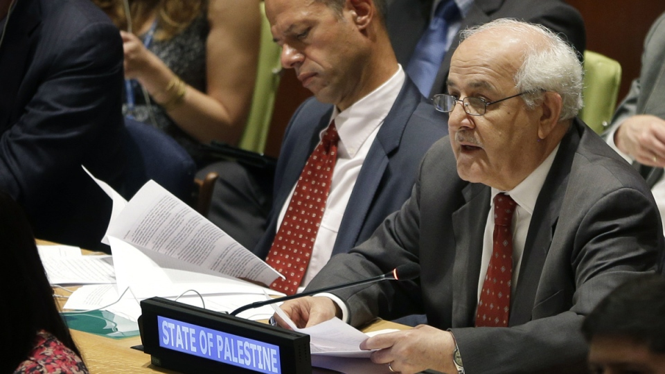 Palestinian ambassador to the United Nations Riyad Mansour speaks during an informal meeting of the General Assembly on the situation in Gaza at United Nations headquarters, Wednesday, Aug. 6, 2014. (AP / Seth Wenig)