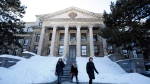 People leave Tabaret Hall at the University of Ottawa on Monday, March 3, 2014. (THE CANADIAN PRESS / Patrick Doyle)