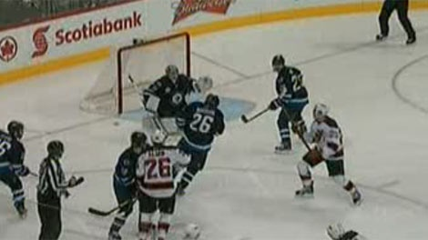 Winnipeg Jet Blake Wheeler (26) suffered a throat injuries Saturday when the Jets took on the New Jersey Devils.