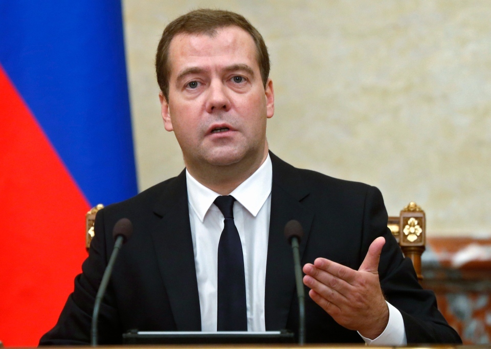 Russian Premier Dmitry Medvedev announces sanctions at the Cabinet meeting in Moscow, Thursday, Aug. 7, 2014. (RIA Novosti, Dmitry Astakhov / Government Press Service)