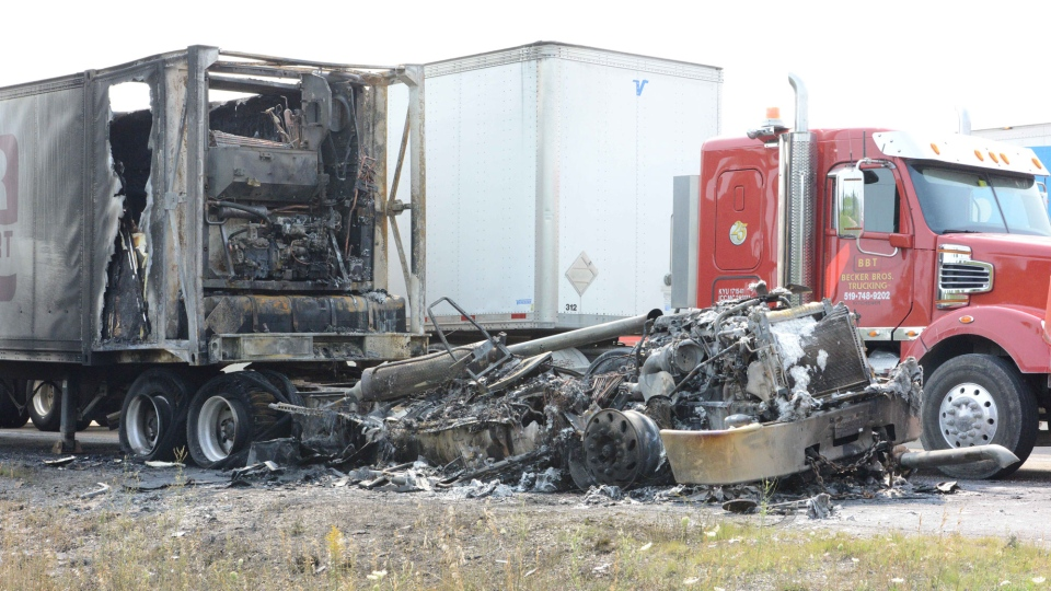Truck carrying cheese catches fire on 401