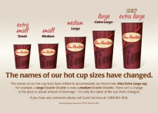 The new Tim Hortons sizes are being phased in after the popular coffee chain tested the new sizes in a couple of markets over the fall and early winter.