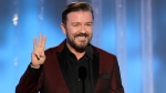 Ricky Gervais speaks during the 69th Annual Golden Globe Awards, Sunday, Jan. 15, 2012 in Los Angeles. (Paul Drinkwater)