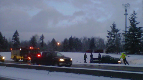 Slippery driving conditions in Metro Vancouver caused a number of accidents Monday morning. Jan. 16, 2012. (CTV)