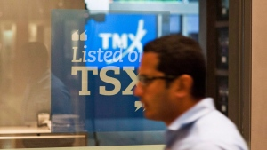 Toronto stock index lower, loonie falls