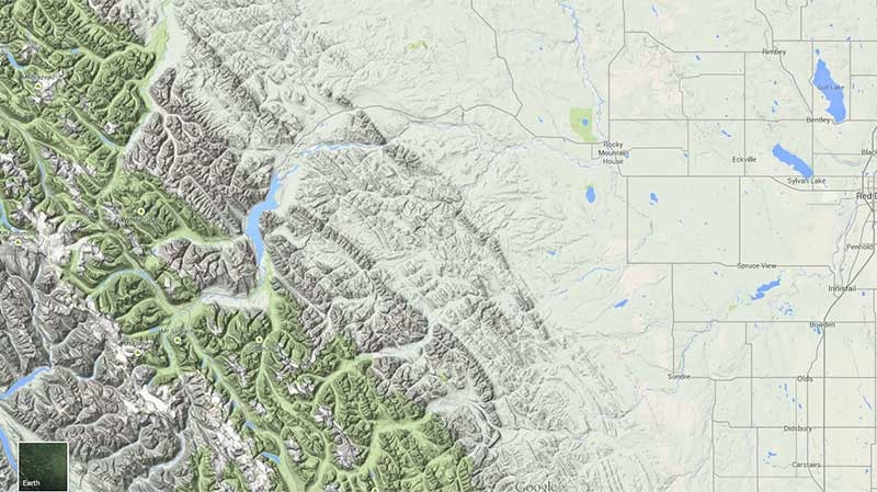 Map of area of minor earthquake near Rocky Mountain House, Alberta (Google Maps)