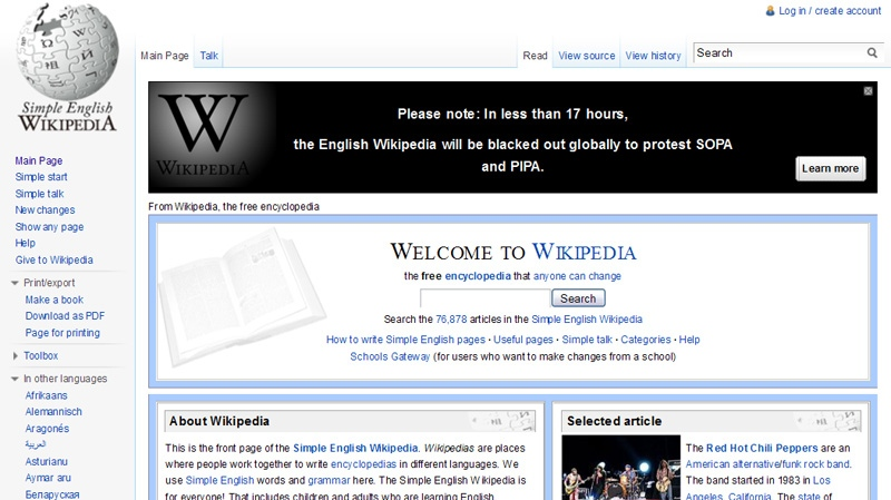 This screengrab shows the homepage of the Wikipedia website, Tuesday, Jan. 17, 2012.