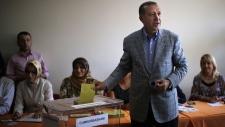 Recep Tayyip Erdogan votes in Istanbul, Turkey