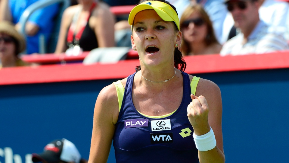 Agnieszka Radwanska of Poland reacts during her final match against Venus Williams of the United States at the Rogers Cup tennis tournament on Sunday August 10, 2014 in Montreal. THE CANADIAN PRESS/Paul Chiasson