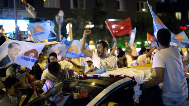 Supporters of Turkey's Erdogan celebrate election