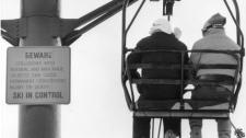 A sign warns skiers of the risks of skiing at the Killington ski resort in Killington, Vt., Dec. 1986. (AP / Toby Talbot)
