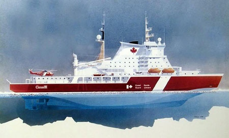 This is a preliminary sketch of the new Polar class, state of the art icebreaker, to be christened the John G. Diefenbaker. (THE CANADIAN PRESS / Government of Canada)