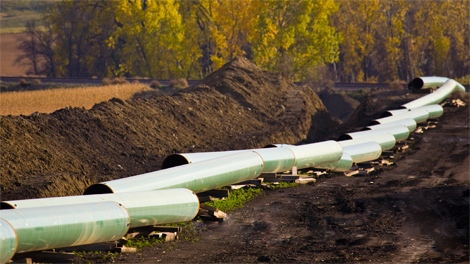 Keystone Oil Pipeline construction underway in North Dakota is seen in this image courtesy TransCanada Corporation.
