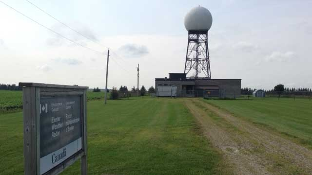 The Exeter Weather Station is seen about 8 km east of Exeter, Ont. on Monday, Aug. 11, 2014. (Scott Miller / CTV London)