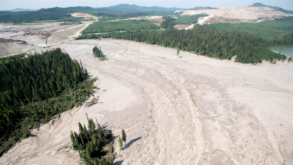 This file photo shows an aerial view of the damage caused by a tailings pond breach near the town of Likely, B.C. Tuesday, Aug., 5, 2014. (Jonathan Hayward / THE CANADIAN PRESS)