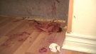 Some of the blood left when James McDonald knocked out someone who had entered his Oshawa home to rob him.