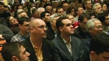 The audience watches as eight NDP candidates participate in a debate in Toronto on Wednesday, Jan. 18, 2012.