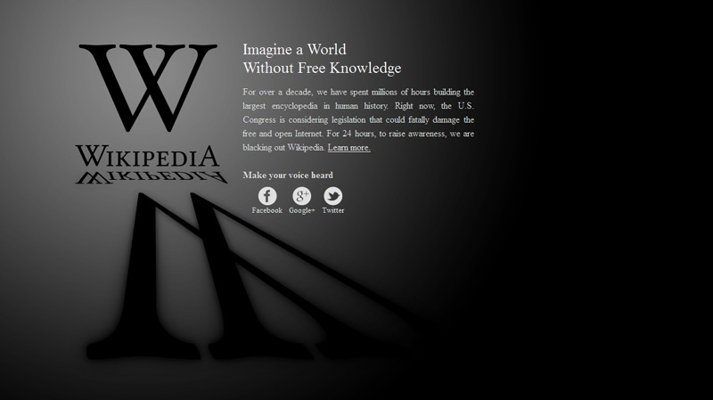 This screengrab shows the homepage of the English language Wikipedia website, Wednesday, Jan. 18, 2012.