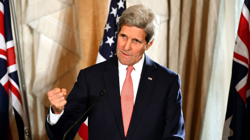 U.S. Secretary of State John Kerry gestures as he speaks to the media during a press conference at the conclusion of the AUSMIN talks at Admiralty House in Sydney, Tuesday, Aug. 12, 2014. (AP / Dan Himbrechts, Pool)