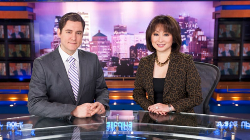 Paul Karwatsky (left) seen with Mutsumi Takahashi, will continue to anchor the news on CTV Montreal.