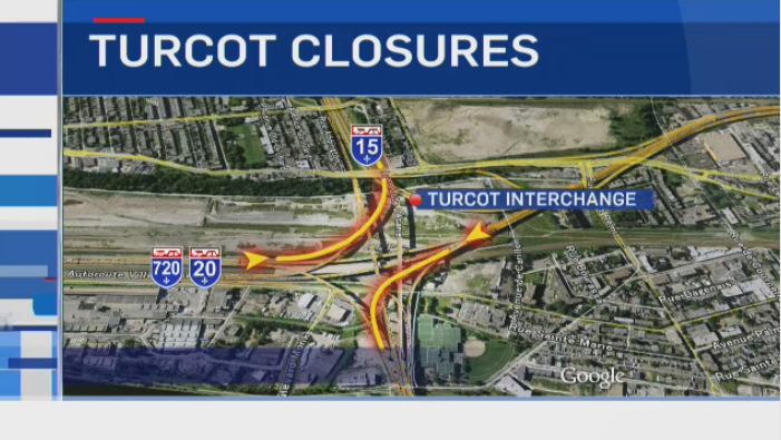 Starting Monday Aug. 19, 2014, the exit towards the Champlain Bridge from the westbound Ville Marie Expressway and the ramp from Hwy. 20 eastbound to the Decarie Expressway will be closed until at least November. (CTV graphic)