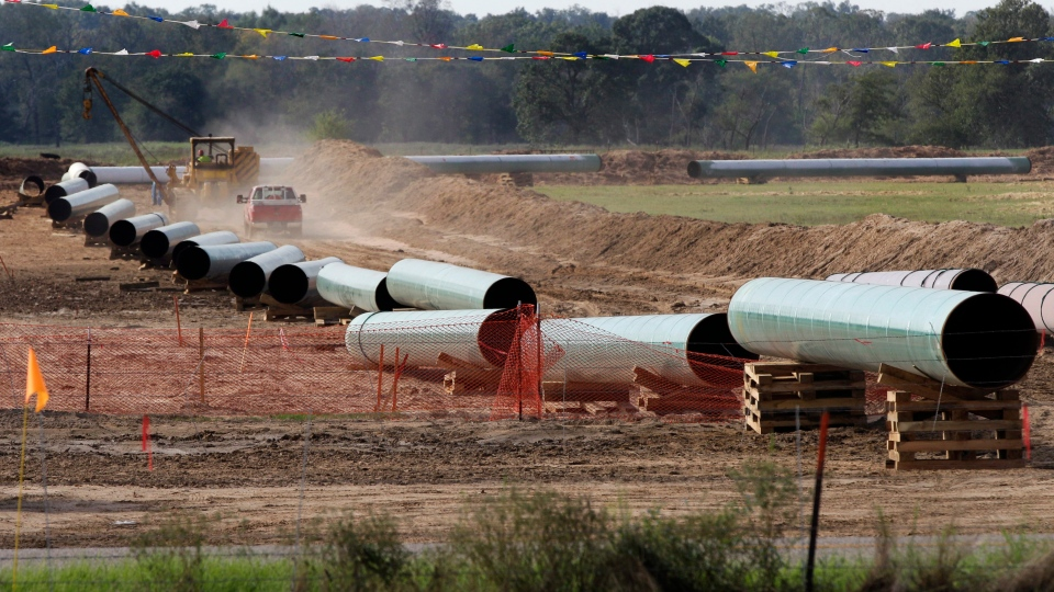 In this Oct. 4, 2012 file photo, large sections of pipe are shown in Sumner Texas. (AP / Tony Gutierrez)