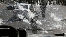 Bullet-riddled bus in eastern Ukraine