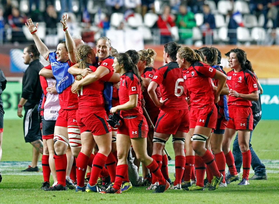 Canadian players celebrate after winning the semi final match of the Women's Rugby World Cup 2014 between France and Canada, Aug. 13, 2014. (AP Photo/Remy de la Mauviniere)