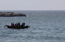 Palestinian fisherman at sea