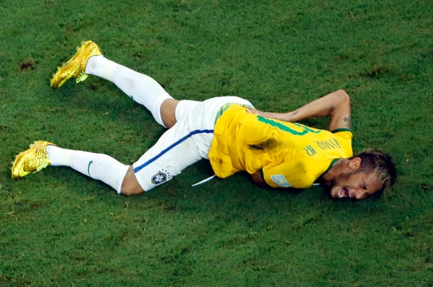 Soccer star Neymar with injured his back
