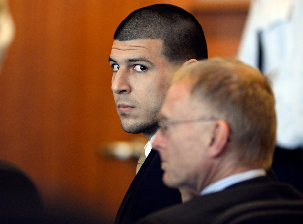 Former NFL player Aaron Hernandez in court hearing