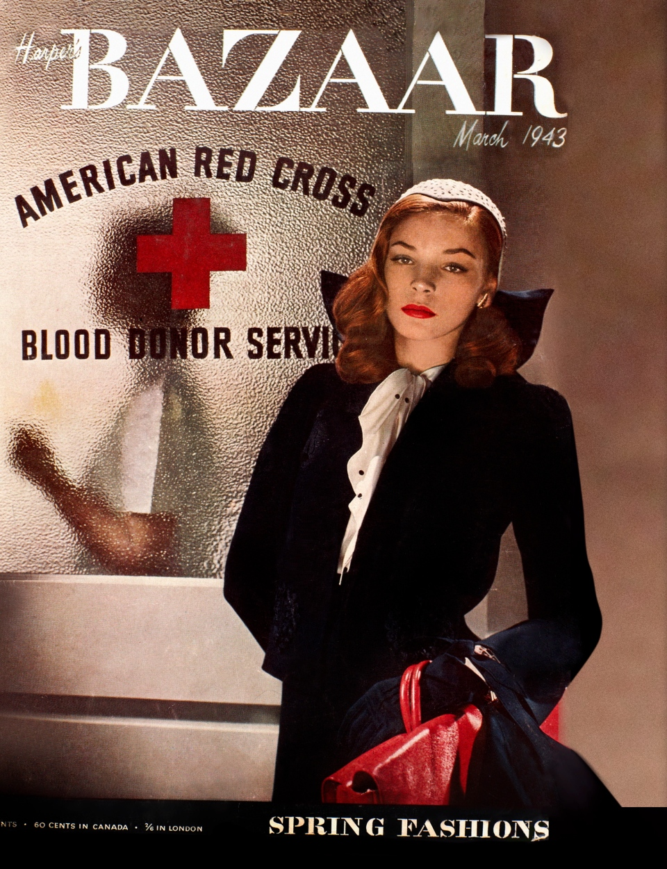 This magazine cover image released by Hearst shows actress-model Lauren Bacall on the cover of the March 1943 issue of 'Harper's Bazaar.' (Provided / Hearst)