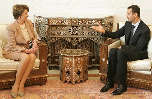 Syrian President Bashar Assad with U.S. House speaker Nancy Pelosi at Ash-Shaeb presidential palace in Damascus on Wednesday, April 4, 2007. (AP / Hussein Malla)