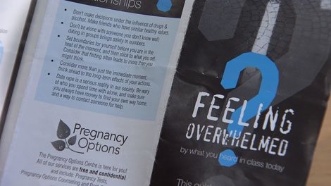 A brochure handed out to students after a presentation by Surrey's Pregnancy Options Centre offers information on sex and relationships. Jan. 19, 2012. (CTV)