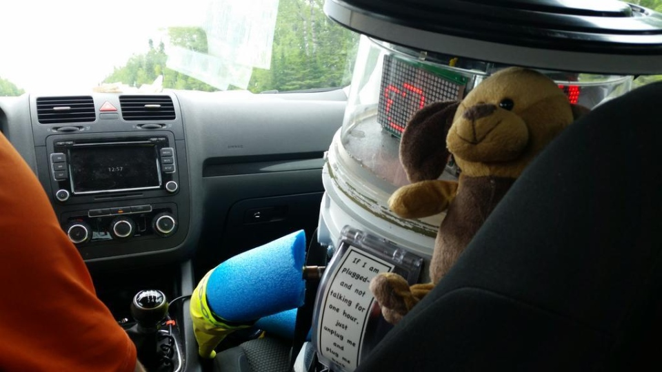 """@hitchBOT you said you wanted a pet.  We hope this fella will do.  He needs a name though."" in New Brunswick on July 28. (@BrienPierre / Twitter)"