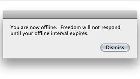 An alert from Freedom is seen in this image from the application's website.