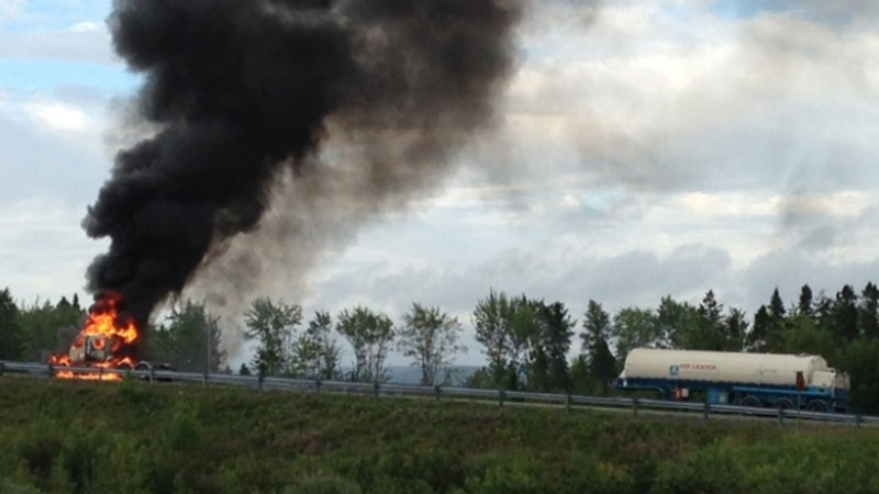 The driver of this tractor-trailer quickly pulled off the road and separated the tanker from the cab it caught fire Thursday morning. (Photo courtesy of Heather Jollimore)