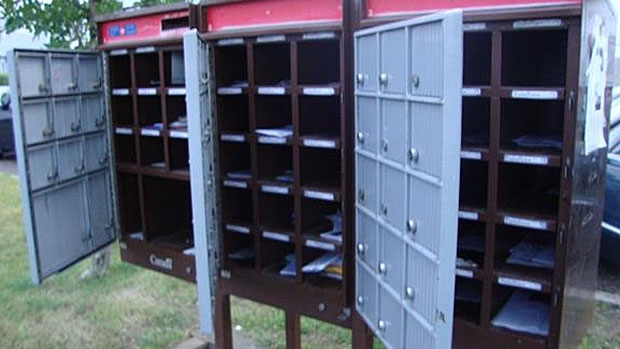 A mail superbox in Taradale was seen completely open on Thursday evening. Residents in the area are concerned that mail was stolen, but they have no way of knowing if any was taken at all. (Photo: Amy Weber)